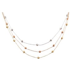 """16 3/4"""" 14k Gold Triple Strand Tri-Color Beaded Necklace"""