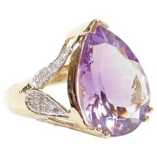 10.45 ctw Amethyst and Diamond Cocktail Ring 14k Gold Two-Tone