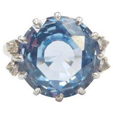 10.62 ctw Blue Topaz and White Spinel Ring 10k White Gold