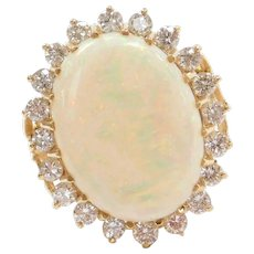 Big 12.70 ctw Natural Opal and Diamond Halo Wow Cocktail Ring 14k Yellow Gold