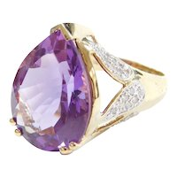 BIG 13.65 ctw Amethyst and Diamond Cocktail Ring 14k Gold Two-Tone