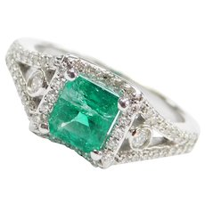 1.38 ctw Natural Emerald and Diamond Halo Engagement Ring 14k White Gold