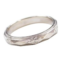 Art Deco 14k White Gold Men's Floral Wedding Band Ring