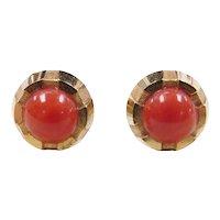 Vintage 14k Gold Coral Stud Earrings