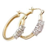 Vintage 14k Gold Two-Tone Diamond Hoop Earrings