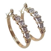 Vintage 14k Gold Two-Tone .16 ctw Diamond Hoop Earrings