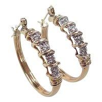 Vintage 14k Gold Two-Tone .16 ctw Diamond Hoop Earrings