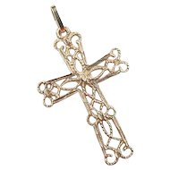 Vintage 14k Gold Filigree Cross Pendant / Charm