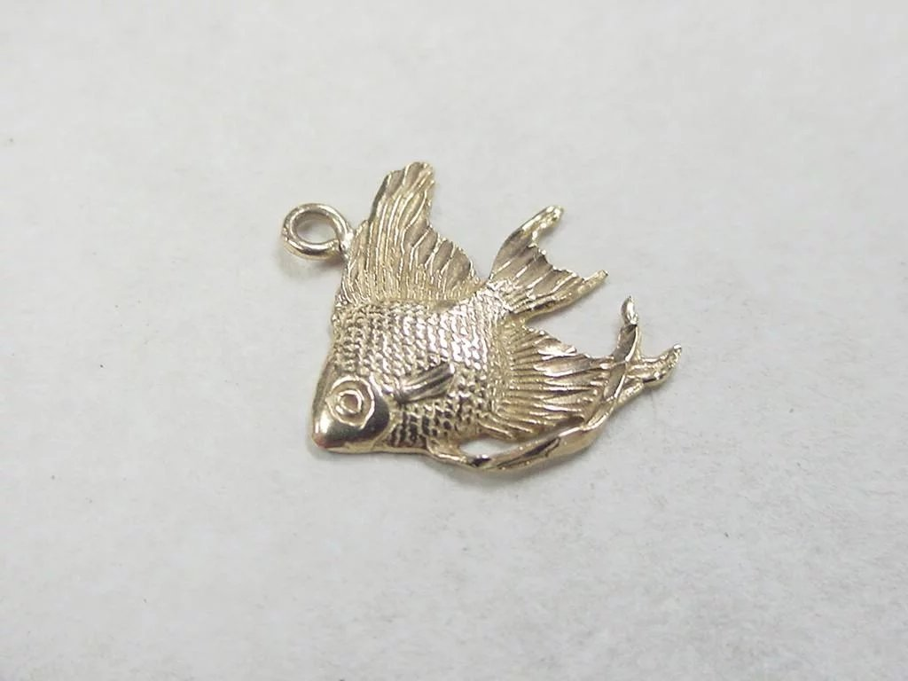 Vintage 14k gold fish charm sold ruby lane for Gold fish charm
