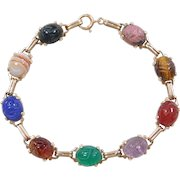 """Vintage 14k Gold Gemstone Scarab Beetle Bracelet ~ 7 1/2"""""""