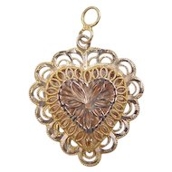 Vintage 14k Gold Big Heart Charm / Pendant
