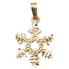 14k Gold Diamond Cut Snowflake Charm