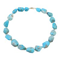 Sterling Silver and 14k Gold Chunky Turquoise Bead Necklace ~ 18""