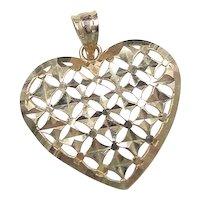 Vintage 14k Gold Big Heart Pendant / Charm