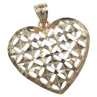 Vintage 14k Gold Big Heart Pendant / Charm