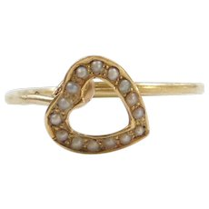 Edwardian 14k Gold Seed Pearl Heart Ring ~ Converted Stick Pin