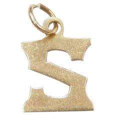 14k Gold Letter S Charm