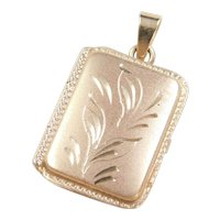 Vintage 14k Gold Rectangle Locket Pendant