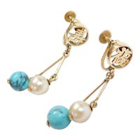 Vintage 14k Gold Turquoise and Cultured Pearl Dangle Earrings with Chinese / Japanese Kanji