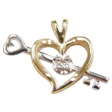 14k Gold Two-Tone Diamond Heart and Arrow Love Pendant