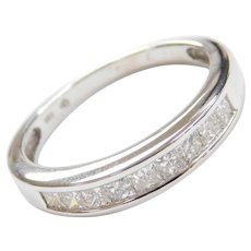 .54 ctw Princess Cut Diamond Wedding Band 14k White Gold