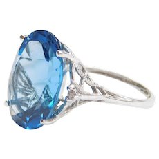 14.18 ctw Blue Topaz and Diamond Ring 10k White Gold