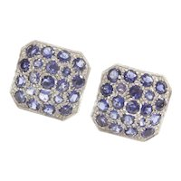 14.20 ctw Natural Sapphire Big Square Stud Earrings 14k White Gold