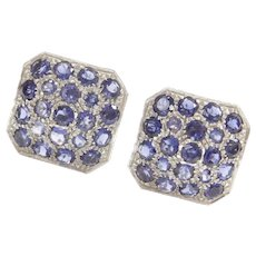 Sapphire Statement Earrings 14.20 ctw 14k White Gold