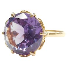 Retro 14.55 Carat Lab Created Color Changing Alexandrite Ring 14k Yellow Gold