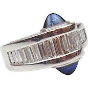 Custom 3.00 ctw Diamond and Cabochon Sapphire Ring 18k White Gold