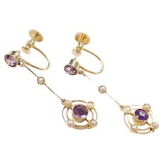 Edwardian 16k Gold Amethyst and Seed Pearl Long Dangle Earrings