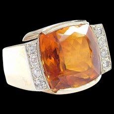 BIG Men's 14k Gold 16.82 ctw Citrine and Diamond Ring ~ Heavy!!