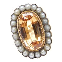 Edwardian Golden Imperial Topaz and Seed Pearl Cocktail Ring 14k Gold