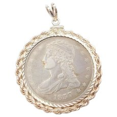 1837 Capped Bust Half Dollar Coin Pendant 90% Silver and Sterling Silver