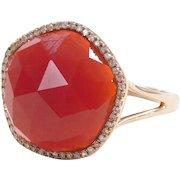 14k Rose Gold Carnelian and Diamond Halo Ring