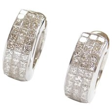 2.88 ctw Princess Cut Invisible Set Diamond Huggie Hoop Earrings 18k White Gold