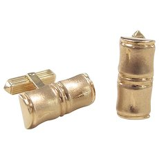 Vintage 18k Gold Bamboo Style Cuff Links