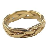 Vintage 18k Gold Handmade Braided Ring