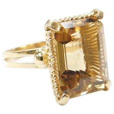 14.95 Carat Citrine Ring 18k Yellow Gold