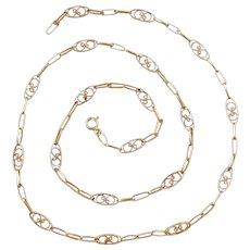 "Edwardian 18k Gold Decorative Chain ~ 20 1/2"" ~ 6.1 Grams"