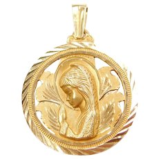 18k Gold Beautifully Etched Religious Praying Girl Pendant / Charm