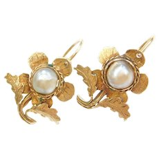 Victorian 18k Gold Flower Earrings with Cultured Pearls