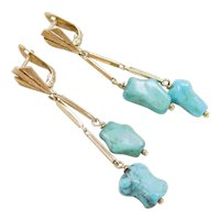 Retro 18k Gold Long Turquoise Dangle Earrings