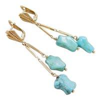 Retro 18k Gold Long Turquoise Dangle Earrings