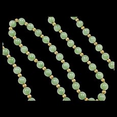 """Vintage 18k Gold 10mm Icy Olive Green Jade Beaded Necklace ~ Long ~ 32"""""""