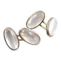 Edwardian 18k Gold Moonstone Cufflinks