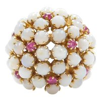 18k Gold Opal and Ruby Flower Dome Ring