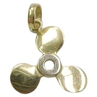 Vintage 18k Gold Boat Propeller Charm or Pendant, Nautical