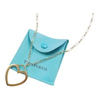 Authentic Retired Tiffany & Co 18k Gold Large Heart Pendant on Fancy Link Chain 18""