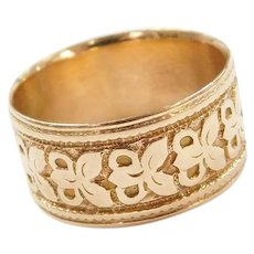 Vintage 18k Gold Wide Butterfly Cigar Band Ring